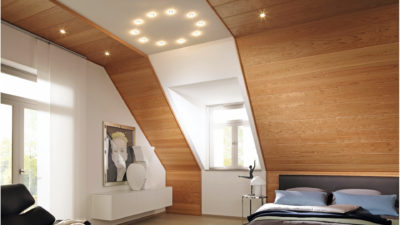 Schlafzimmer Decke und Wand aus Holz vom Katalog Madera